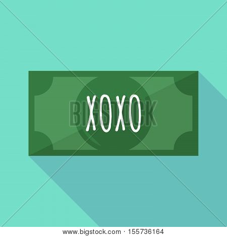 Long Shadow Bank Note With    The Text Xoxo