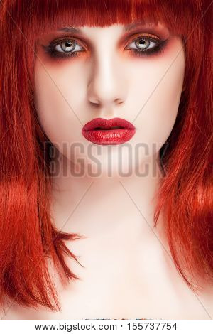 Woman With Red Wig And Pale Doll Tape Skin