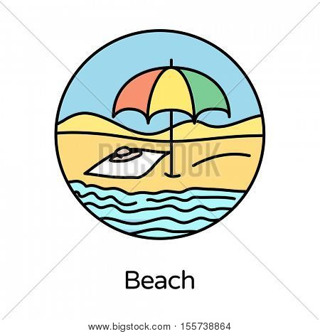 Beach icon - circle line icons collection. Travel, tourism, sports & free time activity concept.
