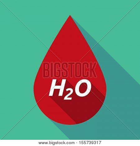 Long Shadow Blood Drop With    The Text H2O