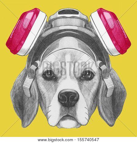 Portrait of Beagle Dog with gas mask. Hand drawn illustration.