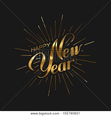 Happy New 2017 Year. Holiday Vector Illustration Of Happy New Year Lettering Label and Burst. Happy New Year Label With Golden Paint Texture