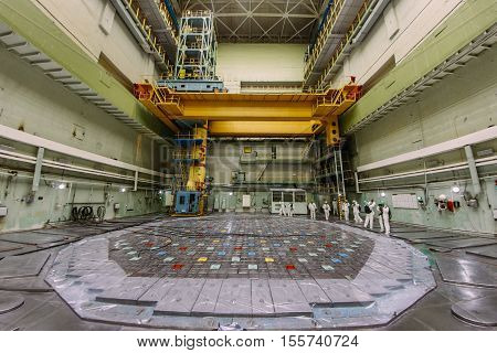 Kurchatov, Russia - JUNE 23, 2016: People inside the reactor room of the Kursk Nuclear Power Plant on June 23 2016, in Russia.