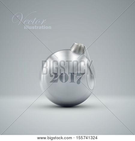 Christmas ball. Holiday vector illustration of traditional festive Xmas bauble. Merry Christmas and Happy New 2017 Year greeting card design element.