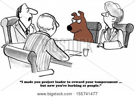 Business cartoon about barking at the employees.