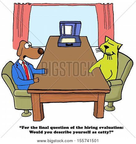 Color business cartoon about a psychological evaluation in a job interview.