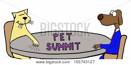 Color illustration of a contentious 'pet summit'.