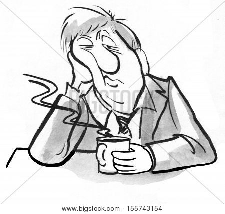 Black and white illustration of sleepy man with a cup of coffee. poster