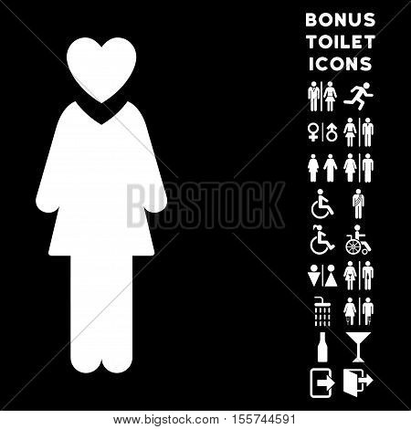 Mistress icon and bonus gentleman and lady lavatory symbols. Vector illustration style is flat iconic symbols, white color, black background.