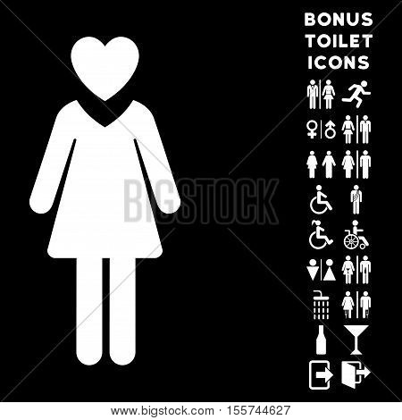 Mistress icon and bonus gentleman and woman restroom symbols. Vector illustration style is flat iconic symbols, white color, black background.