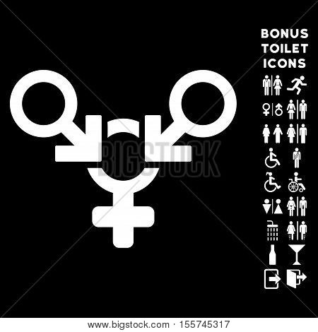 Polyandry icon and bonus gentleman and female toilet symbols. Vector illustration style is flat iconic symbols, white color, black background.