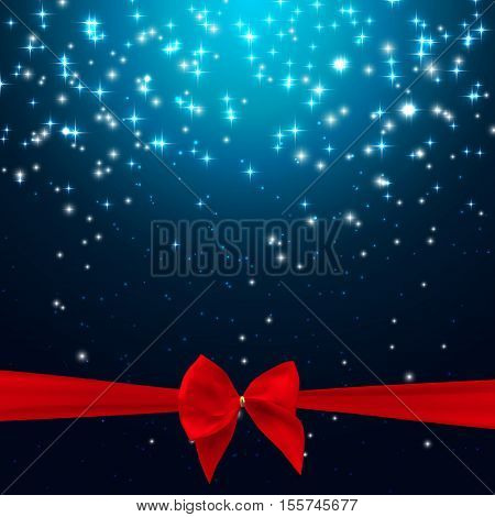Star Shiny Sky with Ribbon and Bow Vector Illustration Background EPS10