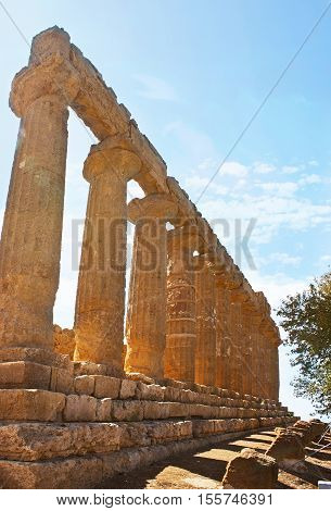 The preserved side wall of the Juno Lacinia Temple located in archaeological site of Valley of the Temples Agrigento Sicily Italy.