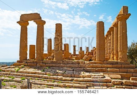 The facade of the great Temple of Juno Lacinia located on the hilly area of Valley of the Temples Agrigento Sicily Italy.