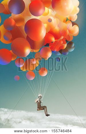 sky traveller, man floating with colorful balloons in a sky, illustration digital painting