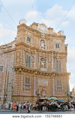 PALERMO ITALY - OCTOBER 2 2012: One of four corner mansions connected into the ensemble of Vigliena (Four Corners) Square on October 2 in Palermo.