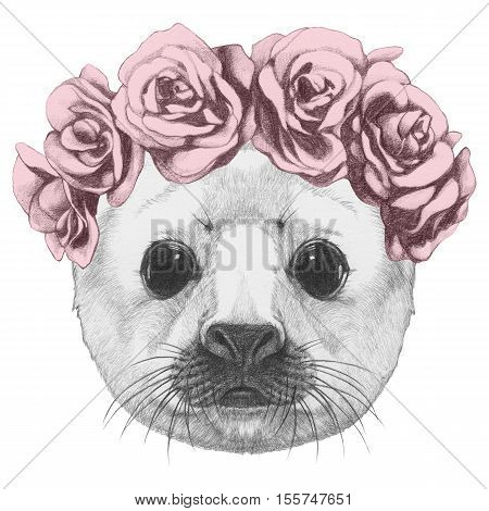 Portrait of Baby Fur Seal with floral head wreath. Hand drawn illustration.