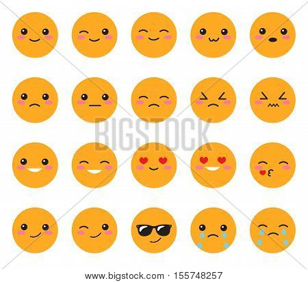 Set yellow emotions face. Set Japanese smiles. Round yellow Kawaii face on a white background. Cute Collection emotions anime style. Vector illustration