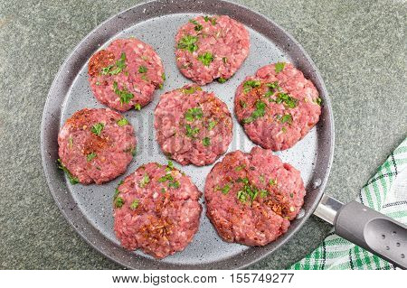 Raw Meatballs Ready For Frying On A Pan