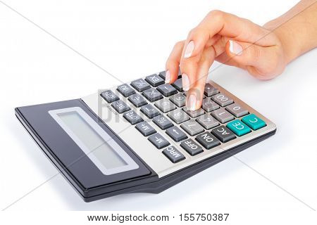 a calculator in a hand is isolated on a white background