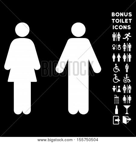 WC Persons icon and bonus male and female lavatory symbols. Vector illustration style is flat iconic symbols, white color, black background.