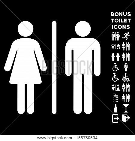 WC Persons icon and bonus gentleman and woman restroom symbols. Vector illustration style is flat iconic symbols, white color, black background.