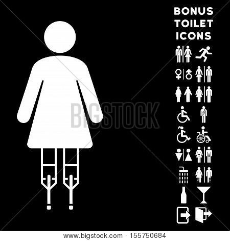 Woman Crutches icon and bonus man and woman WC symbols. Vector illustration style is flat iconic symbols, white color, black background.