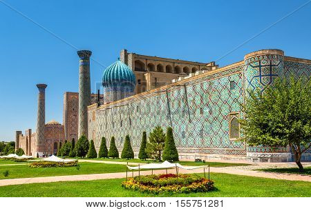 Sher Dor madrasah on Registan Square in Samarkand - Uzbekistan