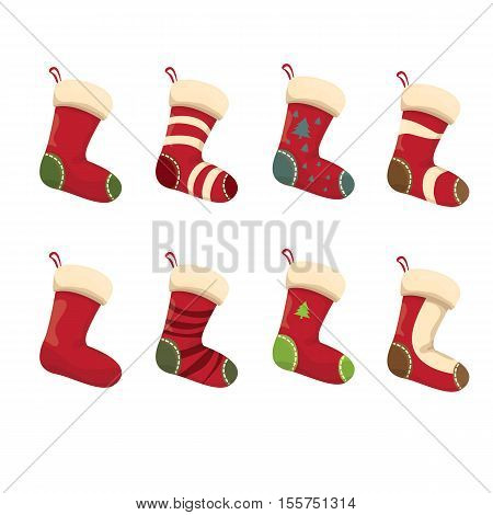vector cartoon cute christmas stocking with color ornament isolated on white. vector christmas socks set