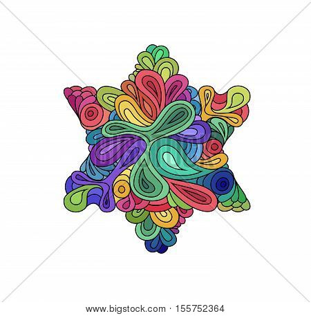 Doodle style colorful hexagram illustration. Colorful zentangle hexagram sketch. Hexagram tattoo sketch. Ethnic wavy six points star vector illustration on white.