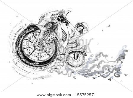 Man riding big bike on the road and jumping flying to turn right perspective view cartoon pencil sketch free hand black and white color isolated background.