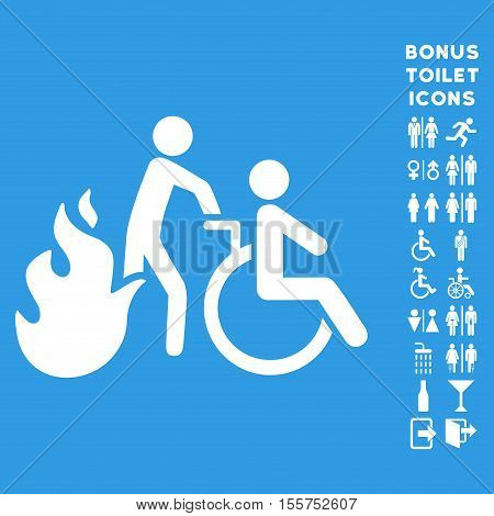 Fire Patient Evacuation icon and bonus gentleman and lady lavatory symbols. Vector illustration style is flat iconic symbols, white color, blue background.