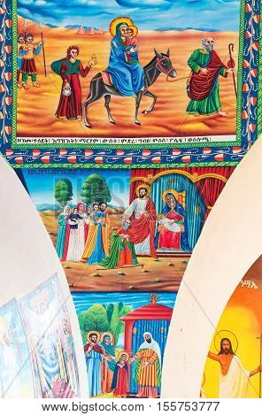 Axum, Ethiopia - January 20, 2016: The holy paintings in the modern church of Our Lady Mary of Sion