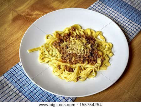 food background ragout of minced meat with pasta