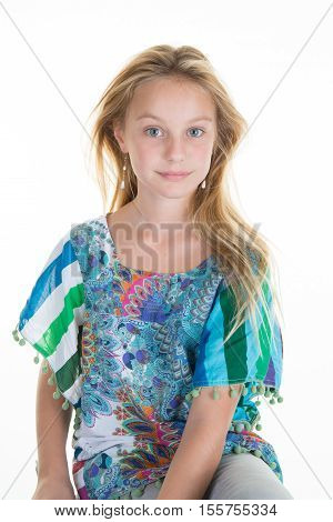 Pretty Fair-haired Blond Girl , On White Background.