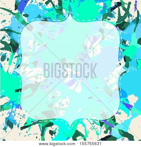 Template with semi-transparent white vintage frame over bright colorful artistic paint splashes ready for your text.