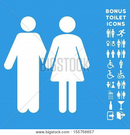 Married Couple icon and bonus man and female toilet symbols. Vector illustration style is flat iconic symbols, white color, blue background.