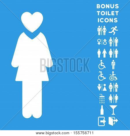 Mistress icon and bonus gentleman and woman WC symbols. Vector illustration style is flat iconic symbols, white color, blue background.