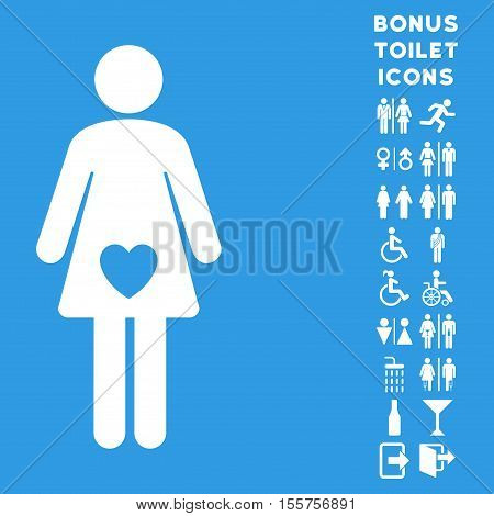 Mistress icon and bonus male and lady lavatory symbols. Vector illustration style is flat iconic symbols, white color, blue background.