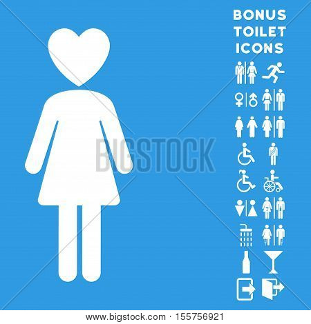 Mistress icon and bonus man and woman WC symbols. Vector illustration style is flat iconic symbols, white color, blue background.