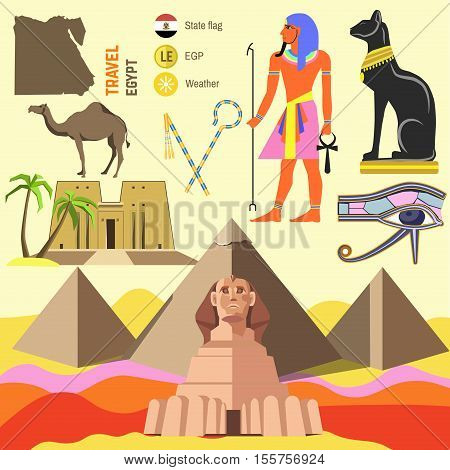 Set of Egypt symbols and landmarks. Flat vector illustrations. Symbols of ancient culture: map, sphinx and pyramid pharaoh in Giza, camel and cat, ankh and eye, anubis and hathor.