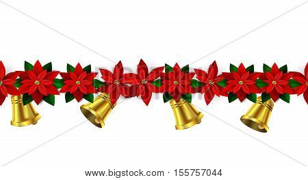 Seamless border Bright Fun Christmas Winter Holidays Patterns with poinsettia and green holly and berries and golden bells