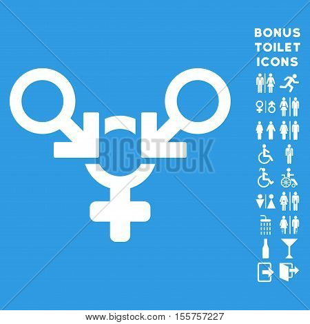 Polyandry icon and bonus male and female lavatory symbols. Vector illustration style is flat iconic symbols, white color, blue background.