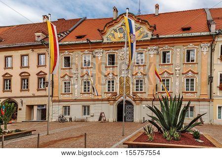 Town hall on market square in Sankt Veit an der Glan Austria