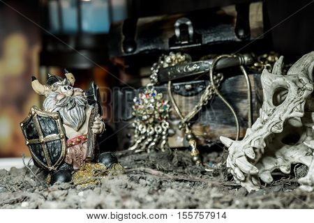pirate and treasure Columbus Day, still life