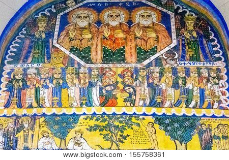Axum, Ethiopia - January 20, 2016: Holy paintings in the ancient church of Our Lady Mary of Sion
