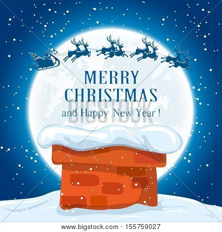 Christmas night with Santa in a sleigh and reindeers flies over the roof, holiday background with inscriptions Merry Christmas and Happy New Year, illustration.