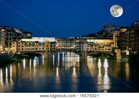 Full moon over the Ponte Vecchio in Florence