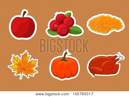 Set of stickers for Happy Thanksgiving Day. Thanksgiving Day badge icon template. Apple cranberry pumpkin pie or apple pie leaf turkey. Thanksgiving dinner symbol template.
