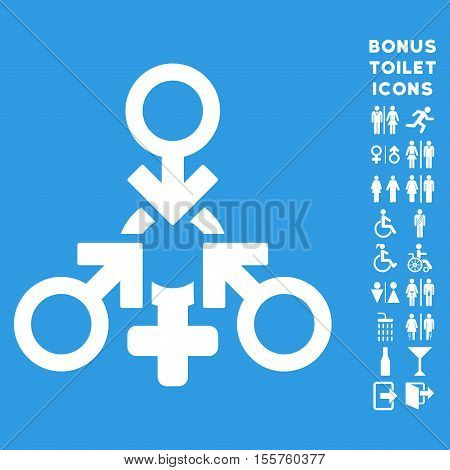 Triple Penetration Sex icon and bonus gentleman and female lavatory symbols. Vector illustration style is flat iconic symbols, white color, blue background.